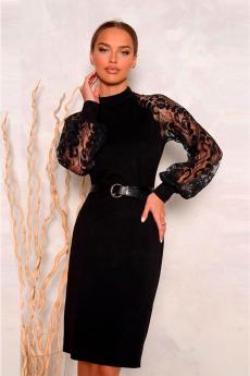 Черное платье с кружевными рукавами Open-Style
